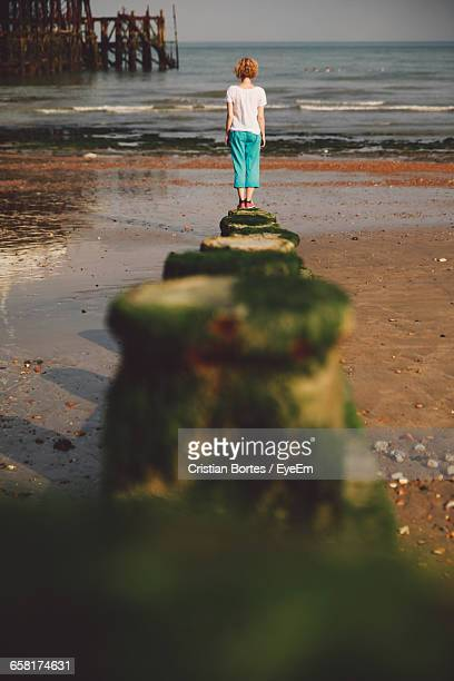 rear view of person standing on pier - bortes stock-fotos und bilder