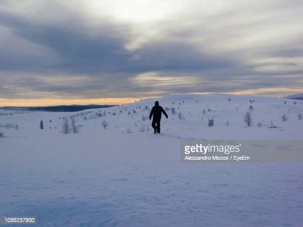 rear view of person walking on snow covered field against cloudy sky - alessandro miccoli fotografías e imágenes de stock