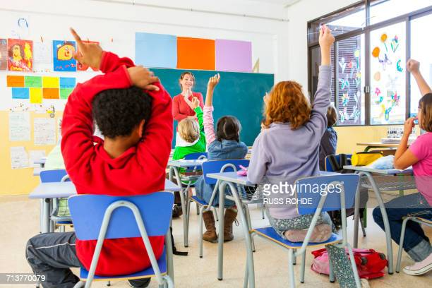 Rear view of primary schoolgirls and boys with hands raised in classroom