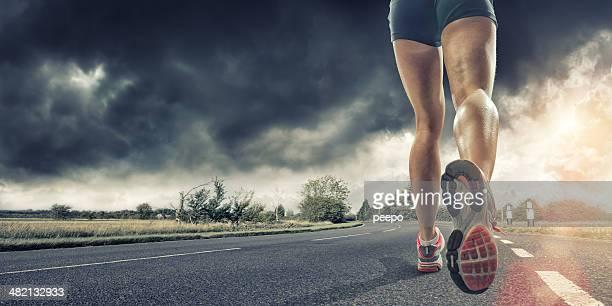 Rückansicht der Läufer Beine