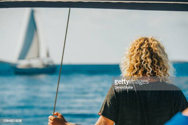 rear view of sailor,croatia - adriatic sea stock pictures, royalty-free photos & images