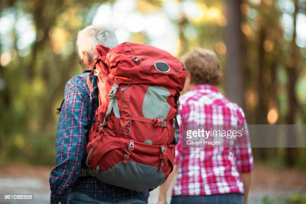 Rear view of senior couple hiking in forest