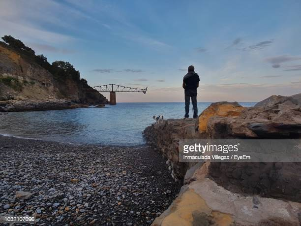 rear view of senior man with dog standing on rocks by sea against sky during sunset - カンタブリア ストックフォトと画像