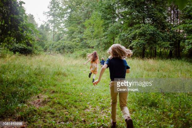 Rear view of siblings running on grassy field in forest