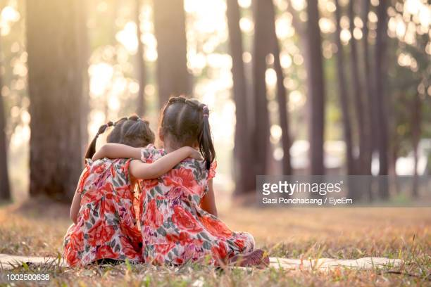 rear view of siblings sitting on field - very young thai girls stock photos and pictures