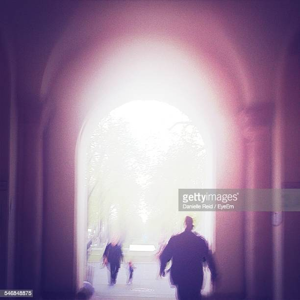rear view of silhouette man walking at archway - danielle reid stock pictures, royalty-free photos & images