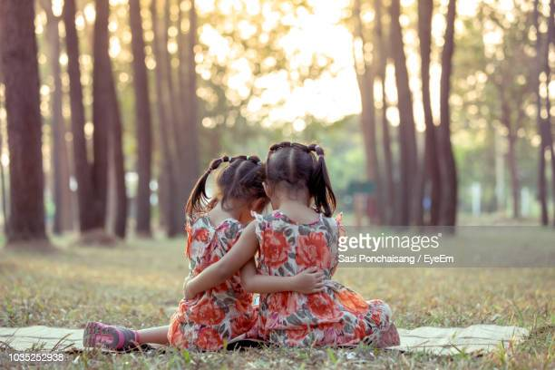 Rear View Of Sisters Sitting In Forest During Sunset