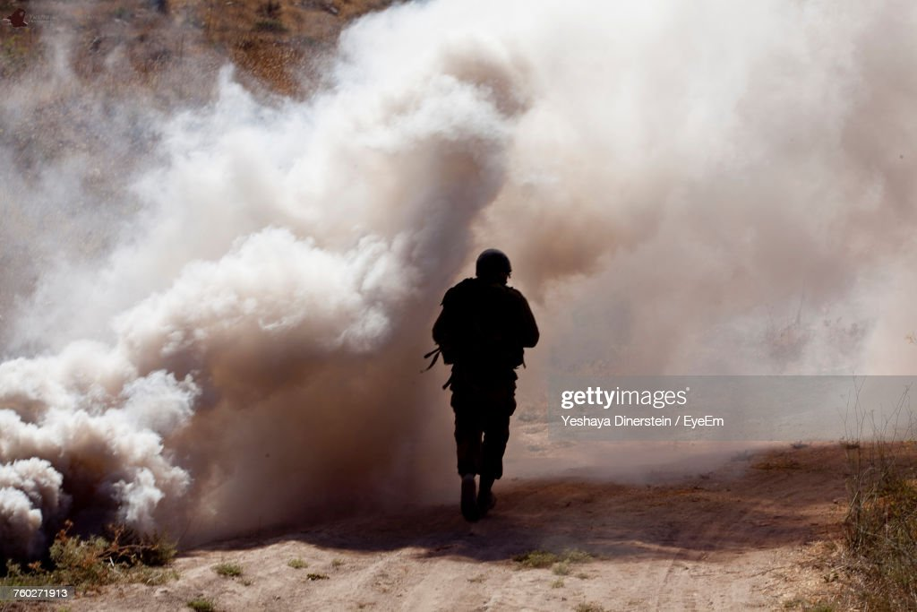 Rear View Of Soldier : Stock Photo