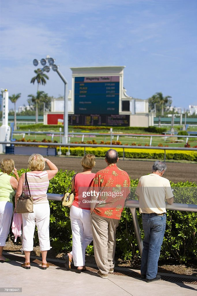 Rear view of spectators standing near the horseracing track : Stock Photo