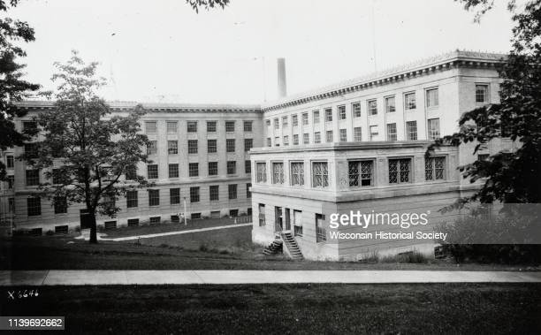 Rear view of Sterling Hall on the University of Wisconsin-Madison campus, Madison, Wisconsin, 1923.