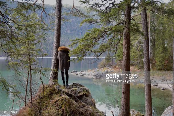 Rear View Of Teenage Girl Standing By Lake In Forest