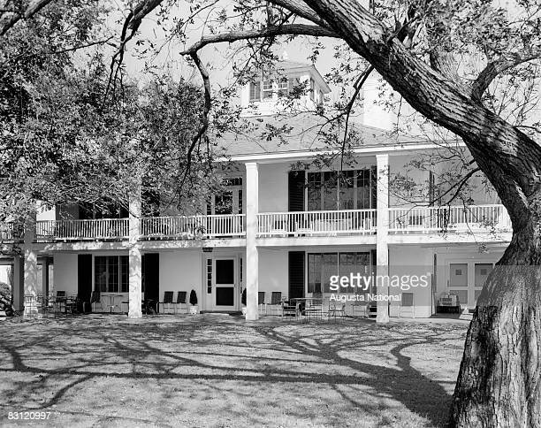 Rear view of the Augusta National Clubhouse during the 1949 Masters Tournament at Augusta National Golf Club in April 1949 in Augusta, Georgia.