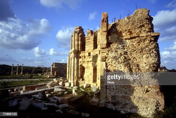 A rear view of the basilica part of the ruins of Leptis Magna the largest city of the ancient region of Tripolitania May 2000 in Leptis Magna Libya...