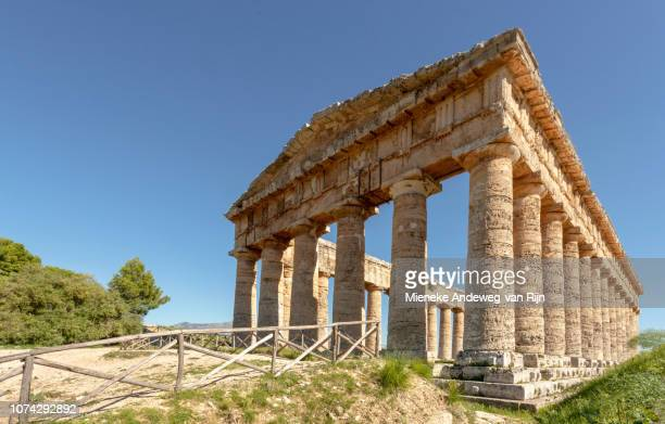 Rear view of the Doric Temple of Segesta, Trapani province, Sicily, Italy