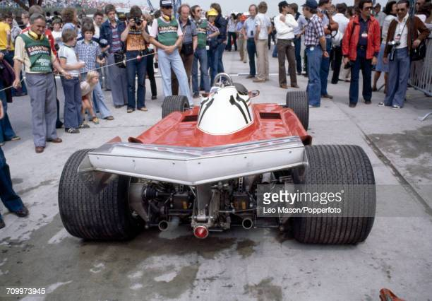Rear view of the Ferrari 312T3 with a Ferrari Flat-12 engine driven for Scuderia Ferrari by Carlos Reutemann of Argentina which placed first in the...