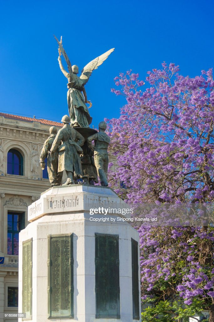 Rear view of the Monument Aux Morts in Cannes, France. : Stock Photo