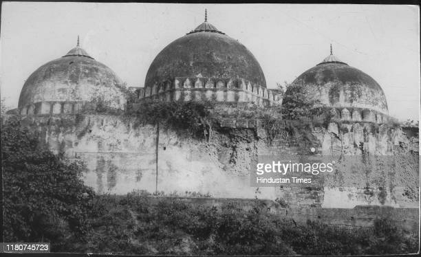Rear view of the structure which is at the centre of the Babri Masjid Rama Janma Bhoomi controversy in Ayodhya which will assume a new dimension with...