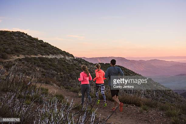 rear view of three adult trail running friends on pacific crest trail, pine valley, california, usa - pacific crest trail stock pictures, royalty-free photos & images