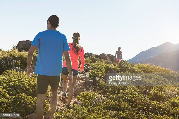 rear view of three adult trail running friends on pacific crest trail dirt track, pine valley, california, usa - pacific crest trail stock pictures, royalty-free photos & images