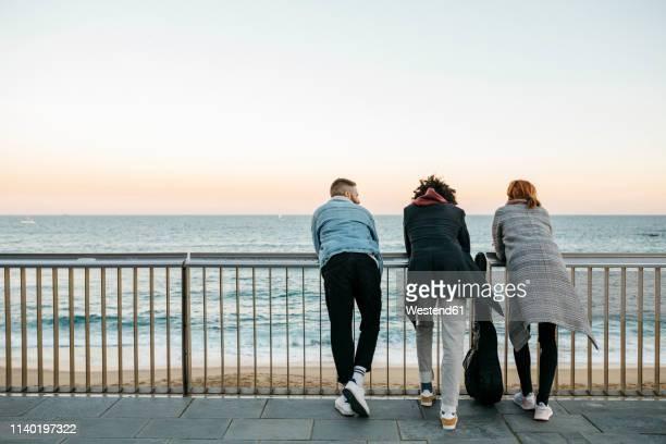 rear view of three friends standing at the sea - calçada imagens e fotografias de stock