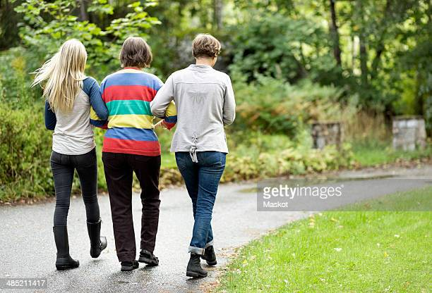 Rear view of three generation females walking on street at park