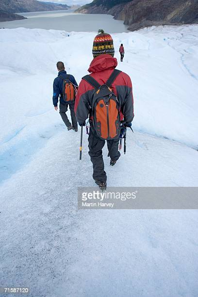 Rear View of Three Hikers Walking Down Glacier Grey