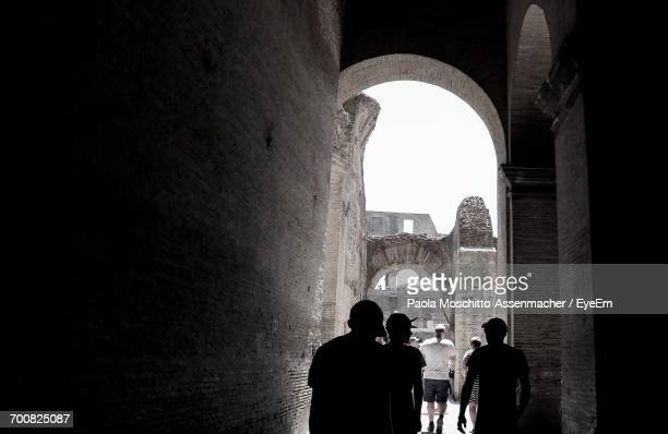 rear view of tourist walking in coliseum on sunny day - inside the roman colosseum stock photos and pictures