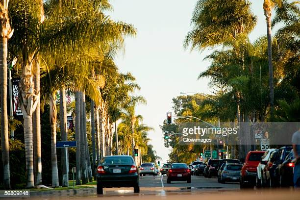 rear view of traffic on a boulevard, san diego, california, usa - boulevard stock pictures, royalty-free photos & images