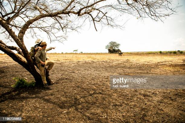 rear view  of two asian couple on grass when explore  wilderness area - kruger national park stock pictures, royalty-free photos & images