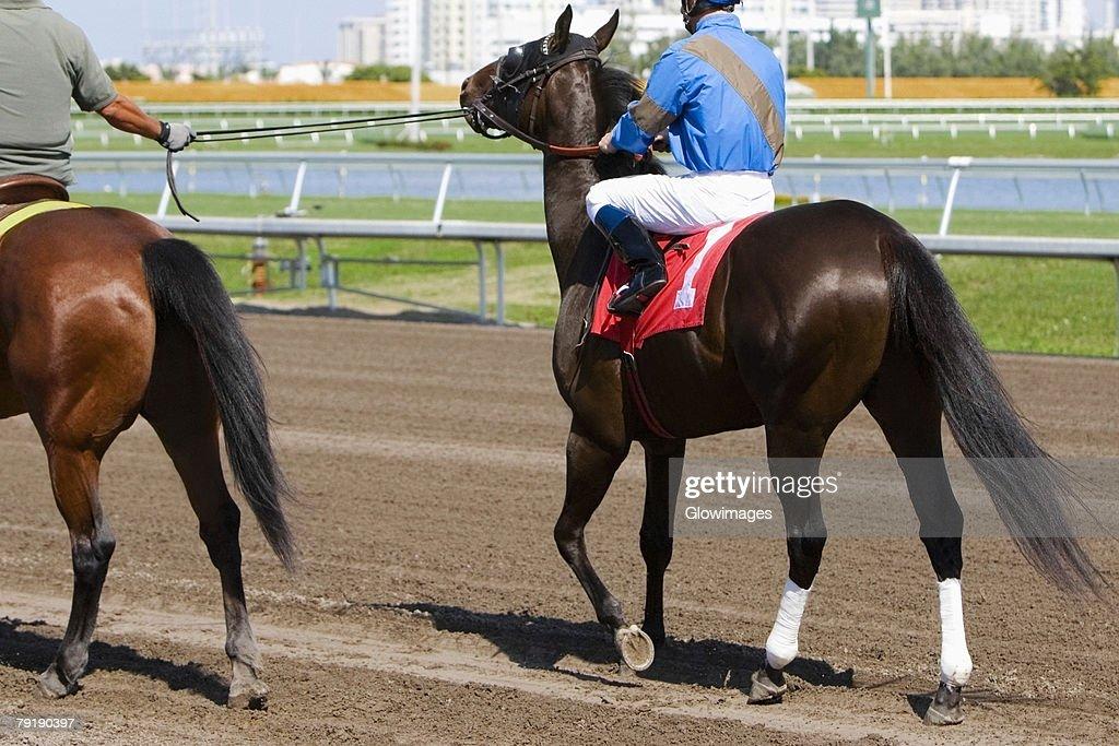 Rear view of two jockeys riding racehorses : Foto de stock
