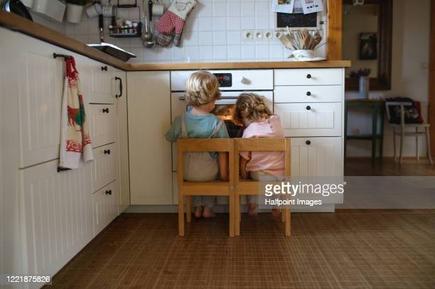 rear view of two small children looking at pizza in oven at home, waiting. - sister stock pictures, royalty-free photos & images