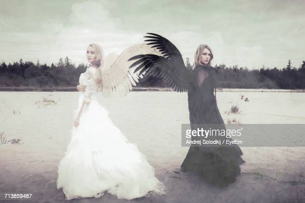 rear view of two women on beach - evil angel photos et images de collection
