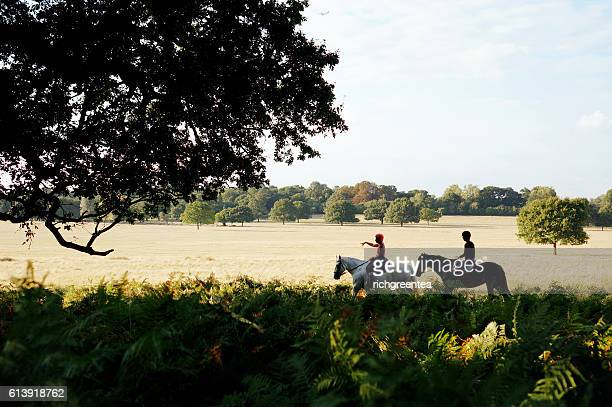 Rear View Of Two Women Riding Horses On Richmond Park, London, UK