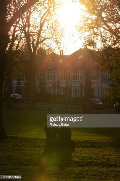 Rear view of two women sitting on a log facing a sinking sun on an Autumn afternoon in south London, on 4th November 2020, in London, England.