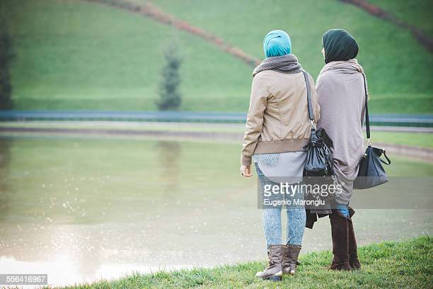 Rear view of two young women looking out from lakeside