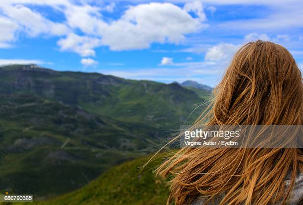 rear view of woman against mountains - auvergne rhône alpes stock pictures, royalty-free photos & images