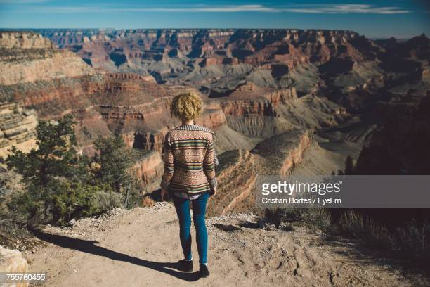 rear view of woman at grand canyon - grand canyon village stock photos and pictures
