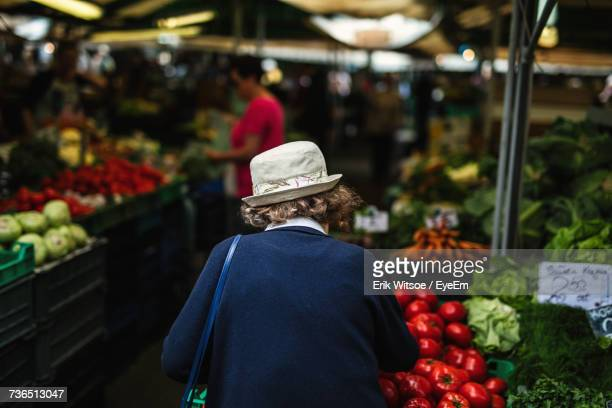 Rear View Of Woman At Market