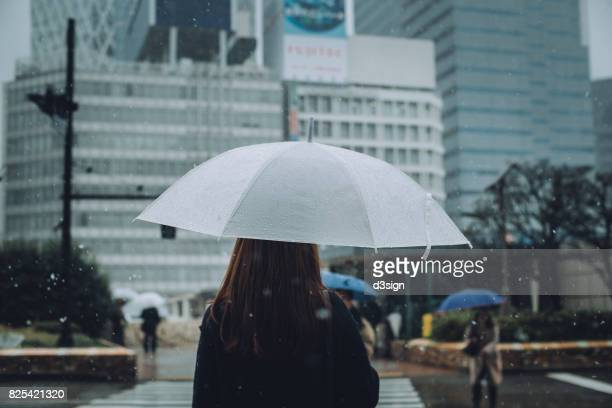 Rear view of woman carrying umbrella walking in the snow in city