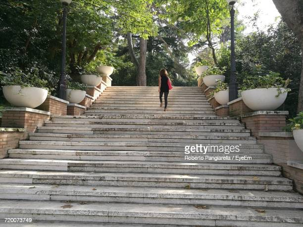 Rear View Of Woman Climbing Steps At Park