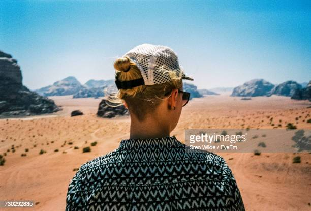 Rear View Of Woman In Desert