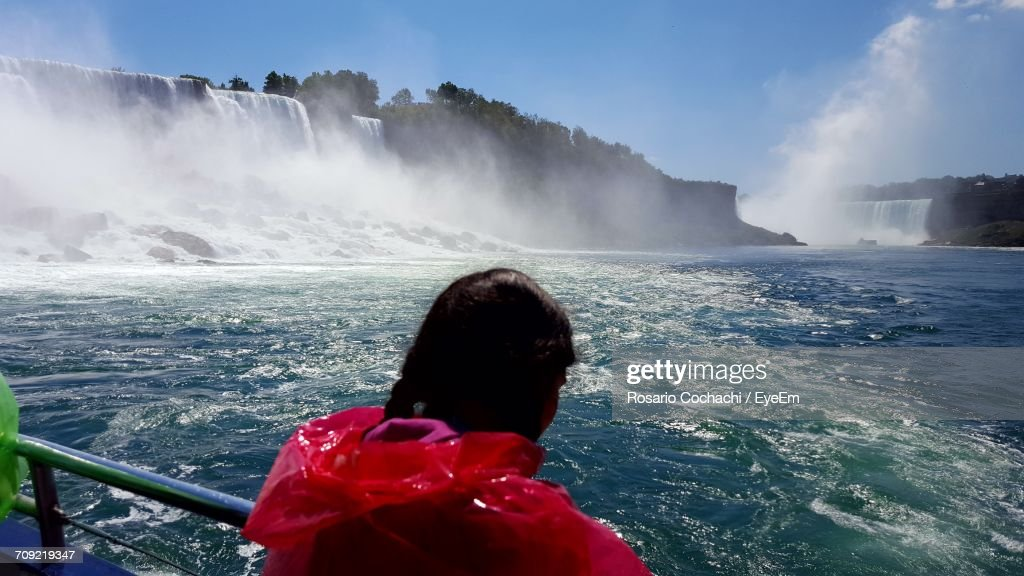 Rear View Of Woman In Ferry Boat At Niagara Falls : Stock Photo