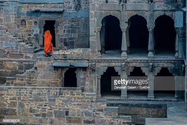 rear view of woman in orange sari in chand baori - abhaneri stock photos and pictures