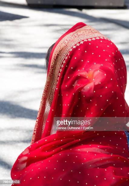 Rear View Of Woman In Red Sari
