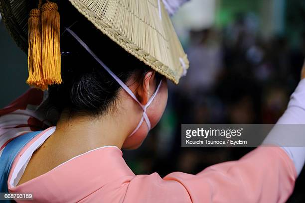 rear view of woman in traditional clothing during awa odori - awa dance festival stock photos and pictures
