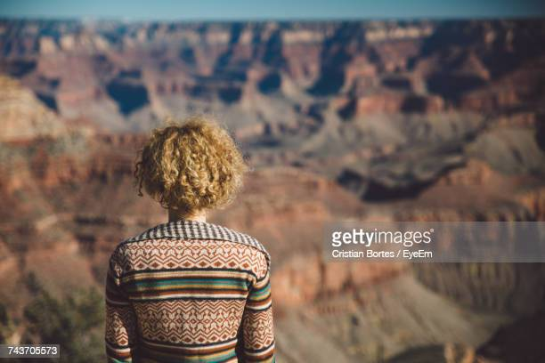 rear view of woman looking at canyon - bortes stock pictures, royalty-free photos & images