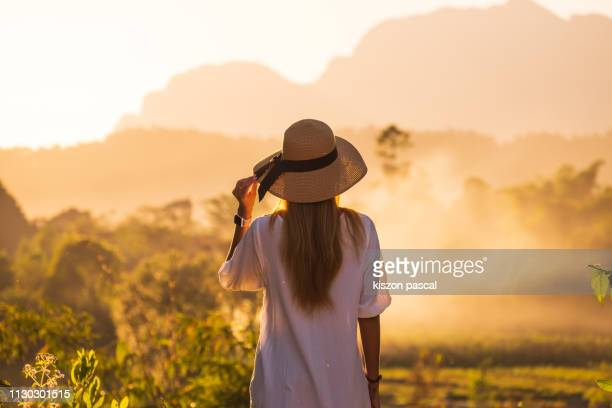 Rear view of woman looking at mountain during sunset .
