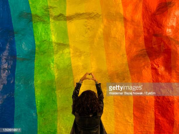rear view of woman making heart shape while standing against multi colored wall - pride stock pictures, royalty-free photos & images
