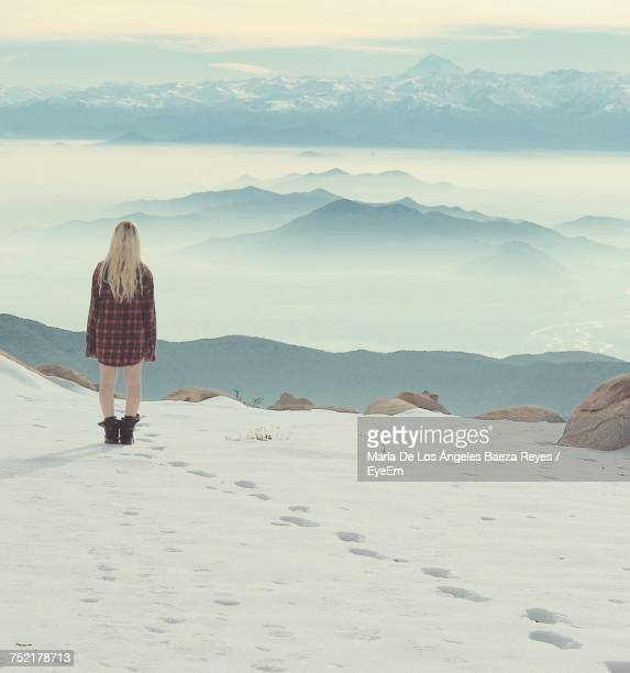 Rear View Of Woman On Mountain