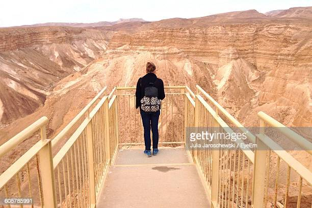 Rear View Of Woman On Observation Point In Front Of Masada